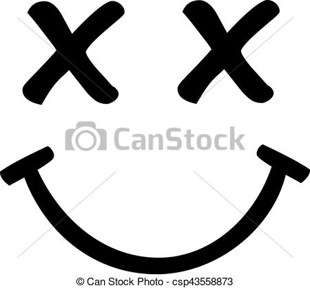 Smiley face with crossed eyes.