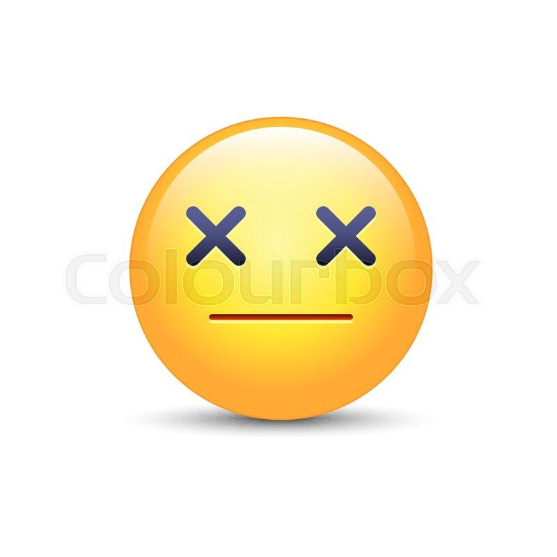 Dizzy emoji face. Cross eyes emoticon.