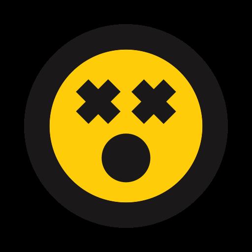 Cross eyed, dead, emoji, shocked icon.