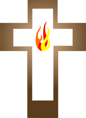 Image: Cross with Flame inside.