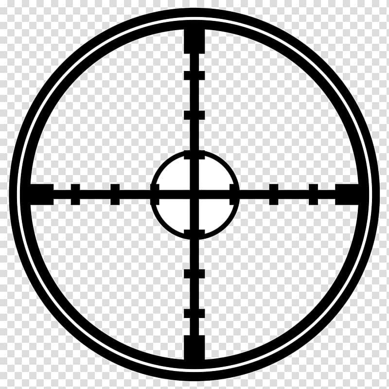 Black and white cross illustration, Reticle , Crosshair.