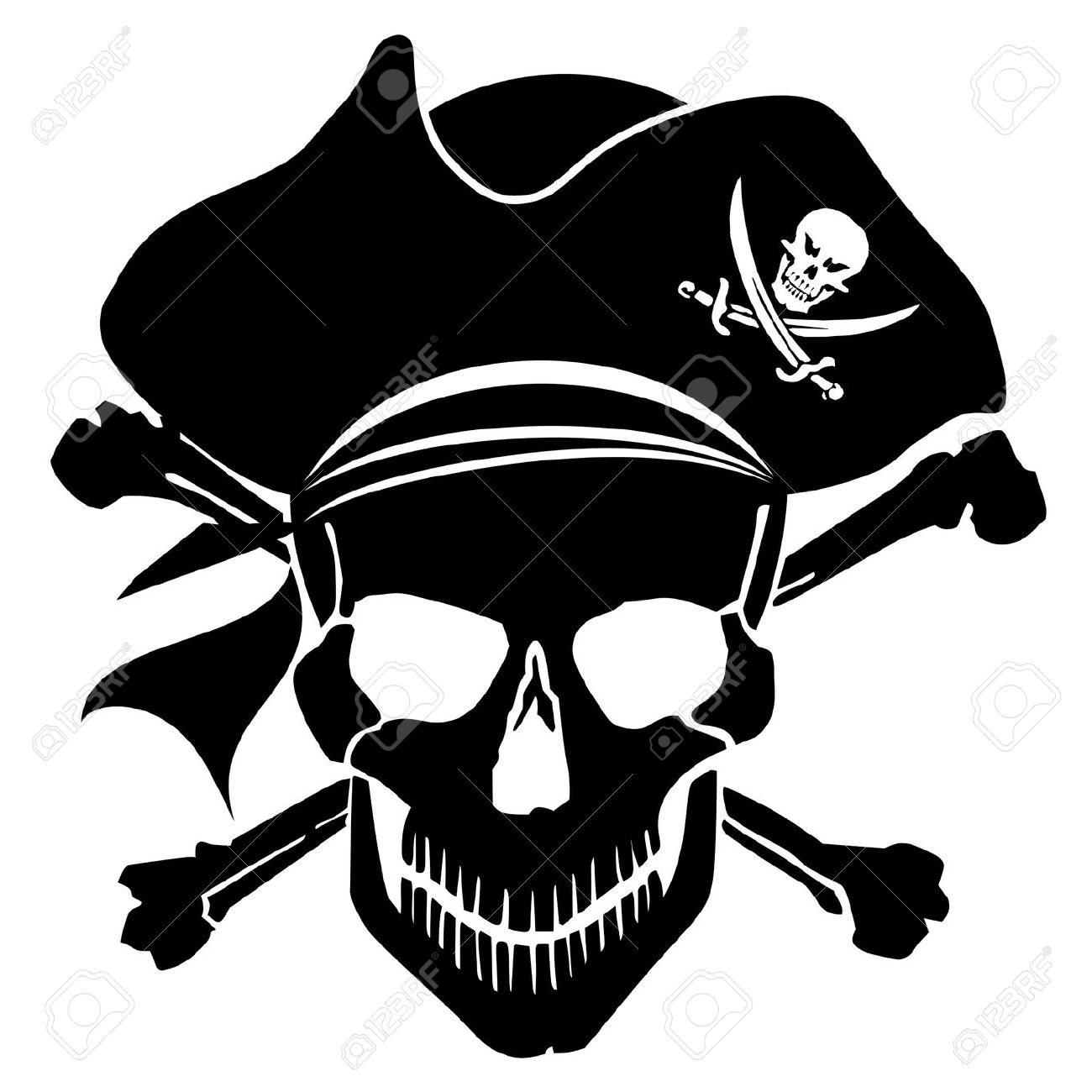 Pirate Skull Captain With Hat And Cross Bones Clipart Illustration.