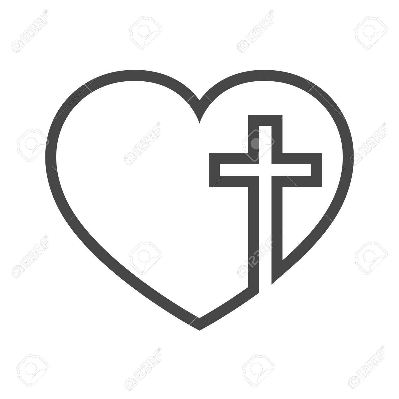 Cross In Heart Clipart.