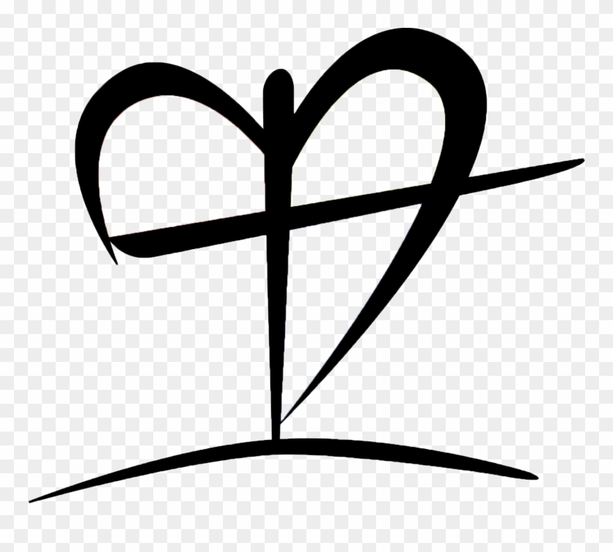 Black And White Clip Art Of Heart With Cross.