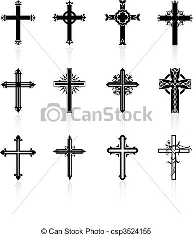 Clipart Vector of religious cross design collection.