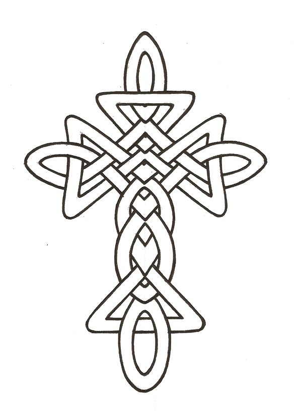 Celtic Cross Line Drawing.
