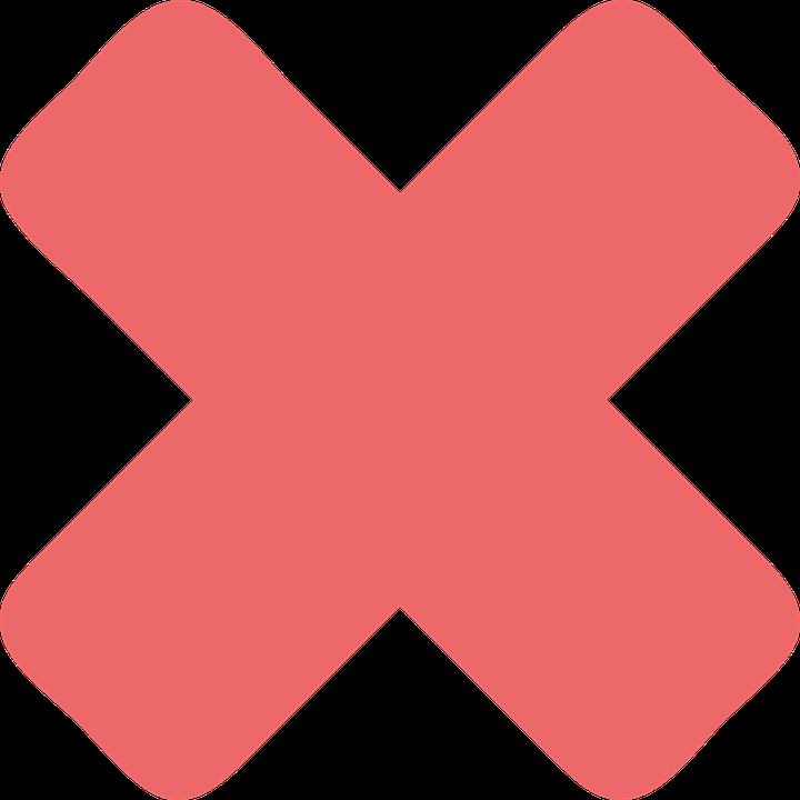 Cross Mark Red Sign.