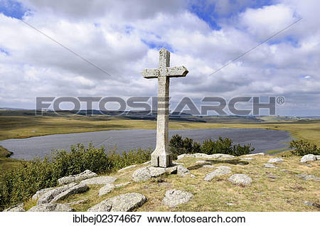 "Picture of ""Cross in the middle of the fields, Saint Andeol lake."
