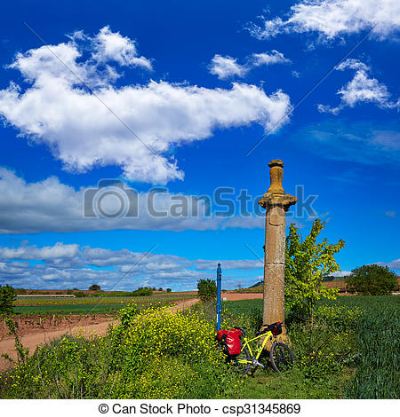 Stock Image of Azofra Saint James Way cross column La Rioja.