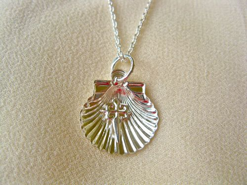 Sterling silver scallop shell with St James cross necklace.