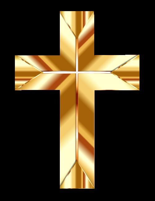 Golden Cross PNG Transparent Image.