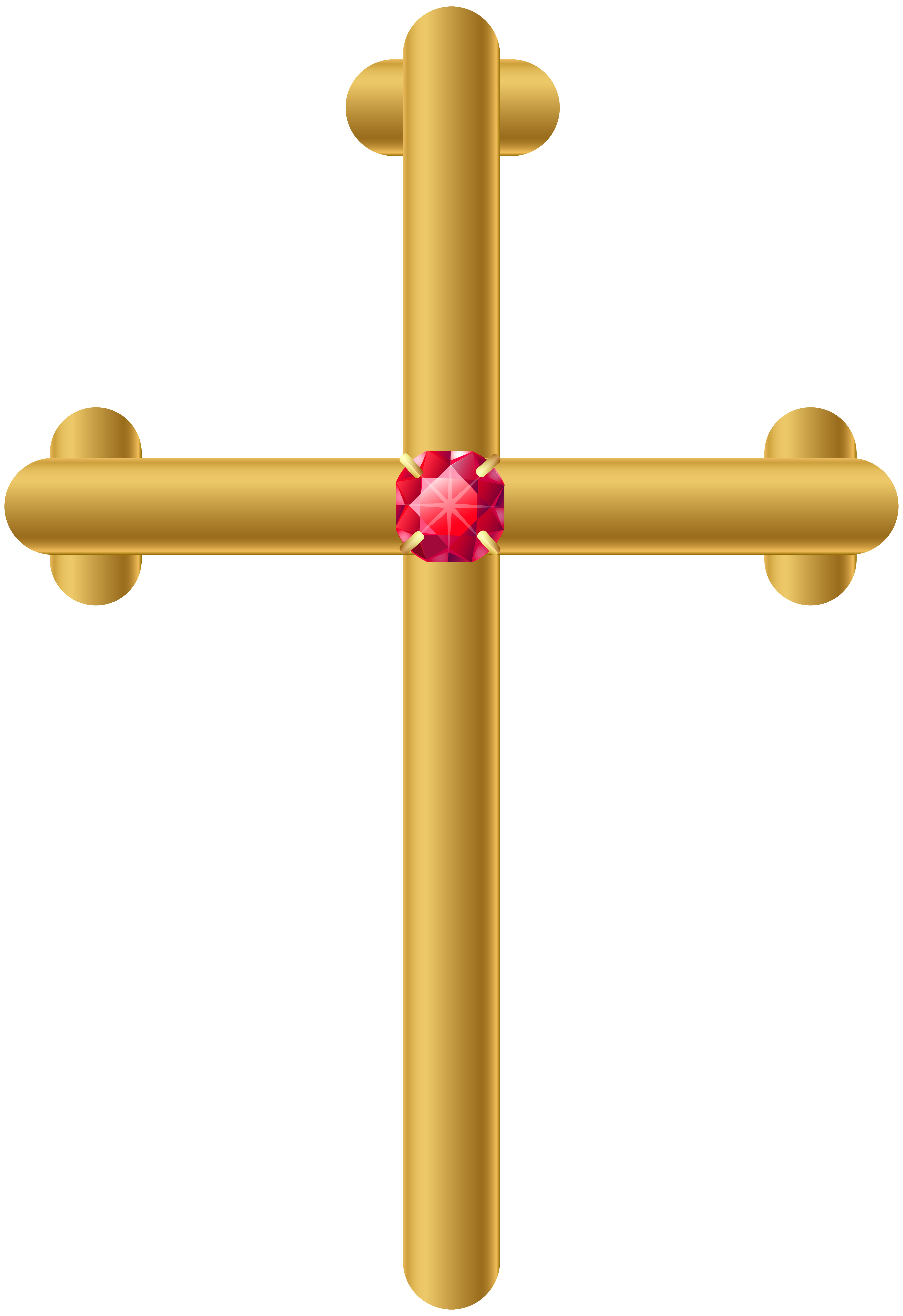 Golden Cross PNG Clip Art Image.