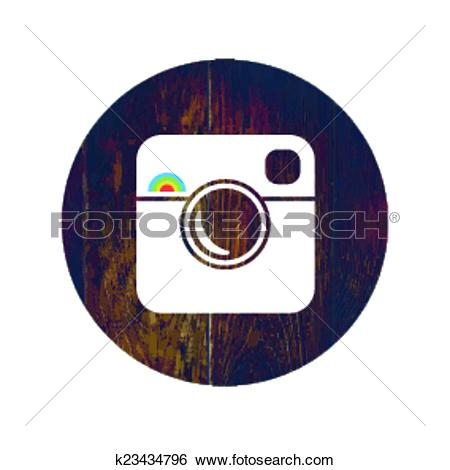 Clip Art of Hipster Photo Icon on Wooden Texture with Cross.