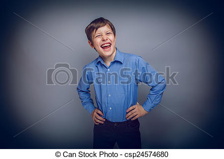 Pictures of teenager boy enjoys laughing on gray background cross.