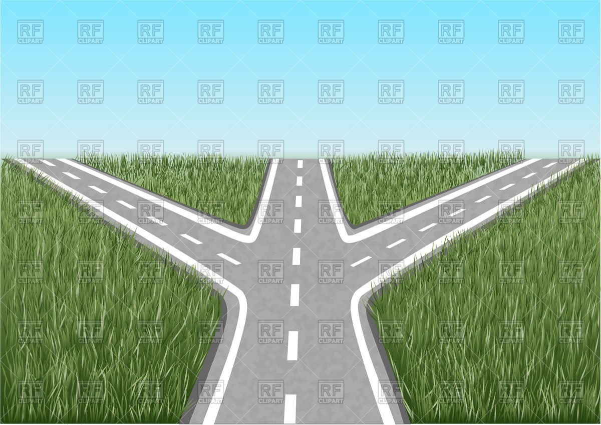 Crossroads with grass and blue sky Stock Vector Image.