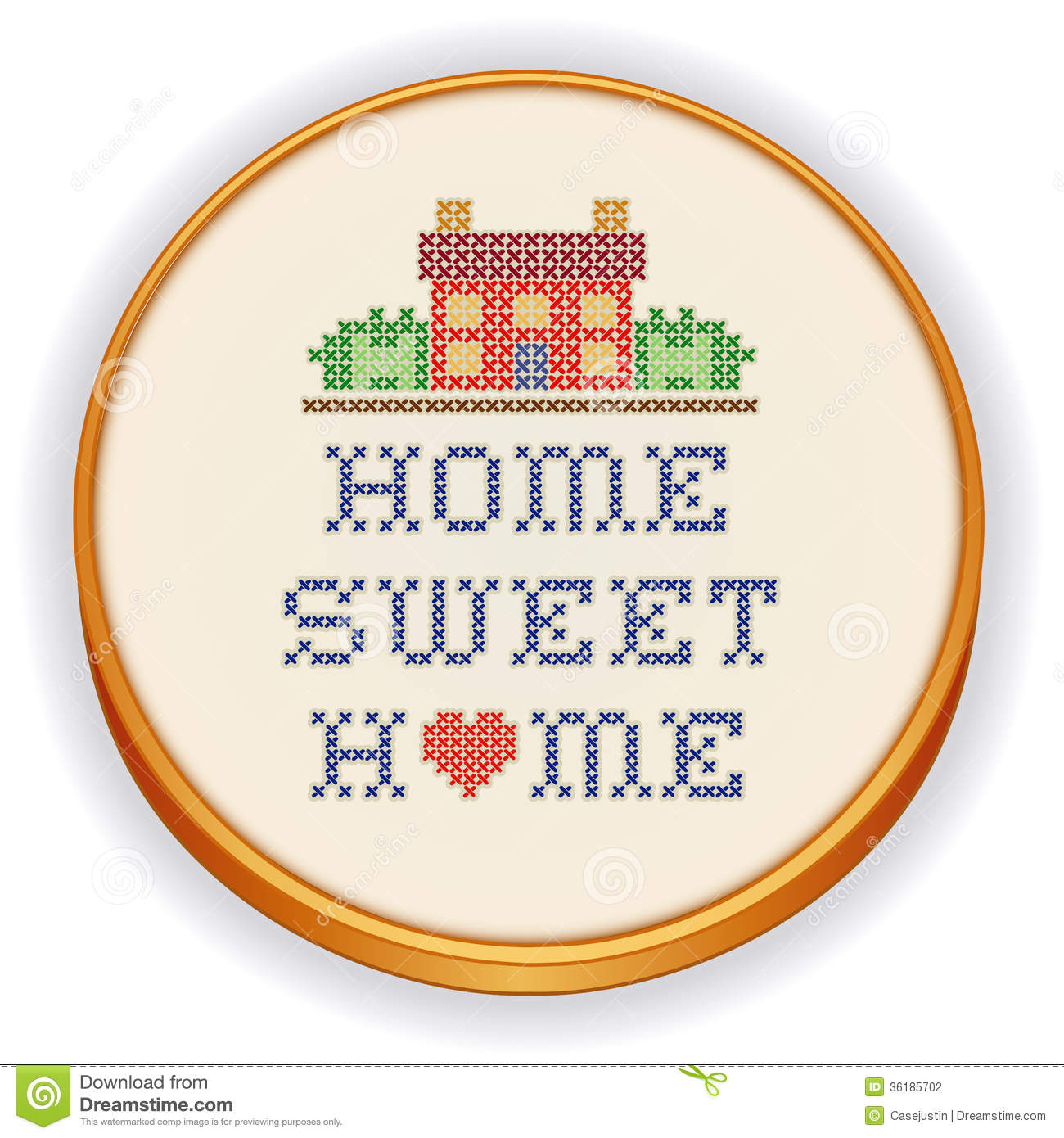 Embroidery Home Sweet Home Cross Stitch, Wood Hoop Stock Vector.