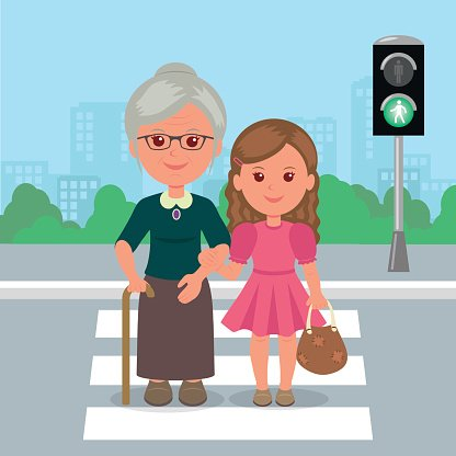 Young girl helps old woman to cross the road. Clipart Image.