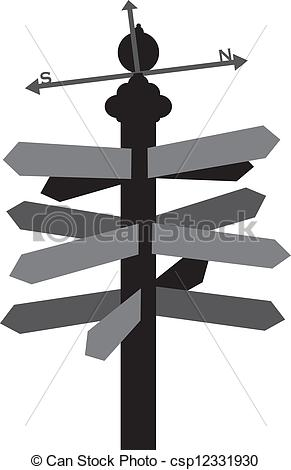 Vectors of Direction Sign with Weather Vane Illustration.