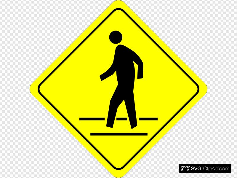 Crosswalk Sign Clip art, Icon and SVG.