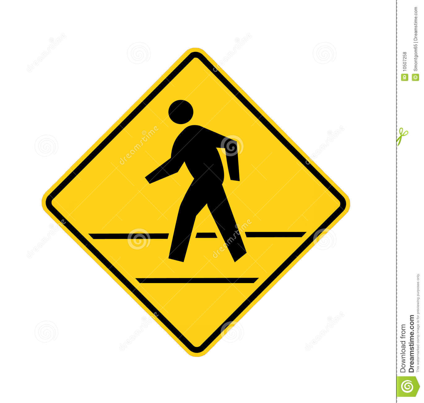 Road Sign Crosswalk Yellow With Lines Royalty Free Stock Photos.
