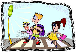 Group of Kids Crossing a Street At a Crosswalk Royalty Free.