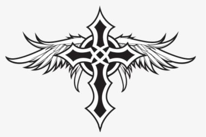 Clip Art Cross With Angel Wings.
