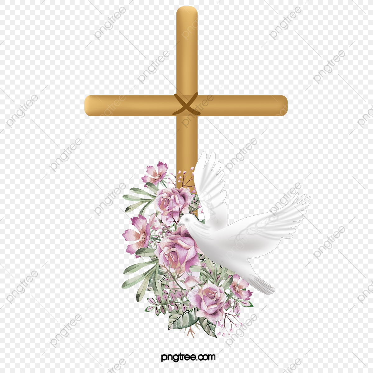 Peace Dove Flying In On The Cross, Cross Clipart, Fly, Peace Dove.