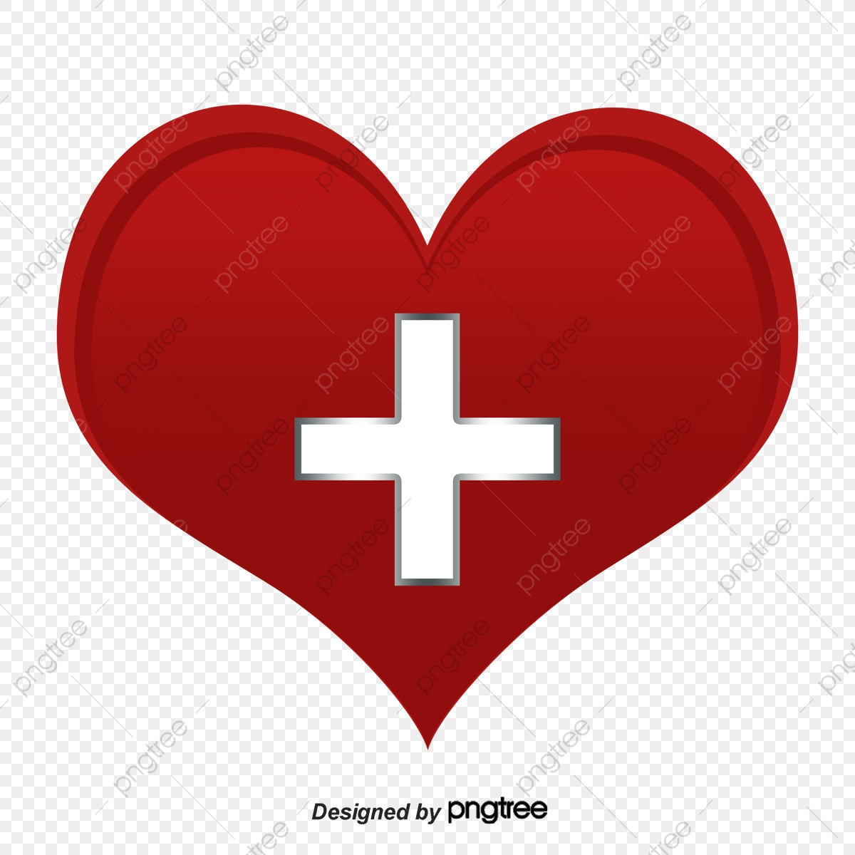Red Cross Heart, Cross Clipart, Heart Clipart, Symbol PNG.
