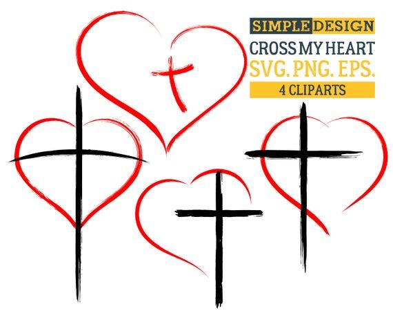 Сross my heart, Cross, Heart, Religious, Christian, Grunge, Distressed,  Silhouette,SVG,Graphics,Illustration,Vector,Logo,Digital,Clipart.