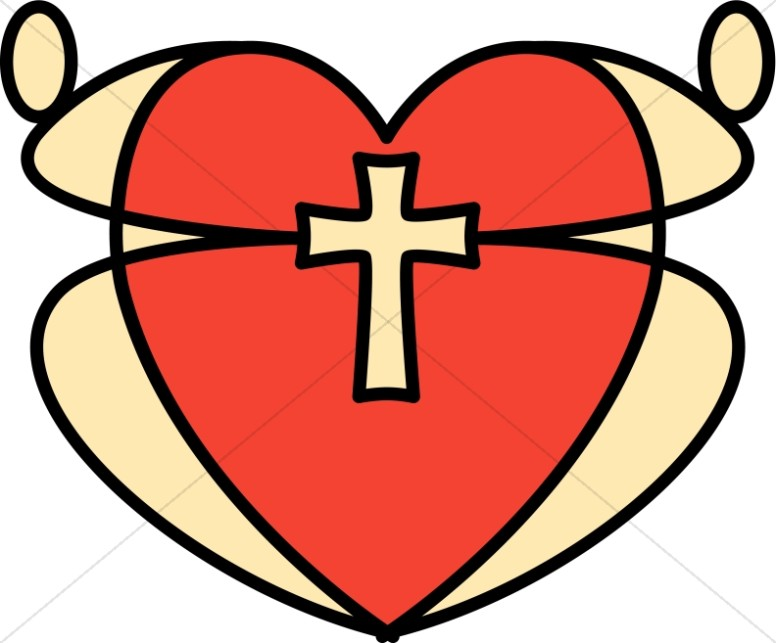 Graphic Heart and Cross.