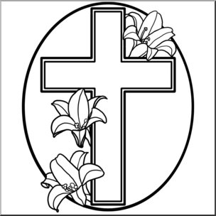 Clip Art: Religious: Cross with Easter Lilies B&W I abcteach.