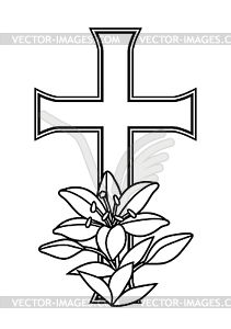 Happy Easter concept . Cross and lilies.