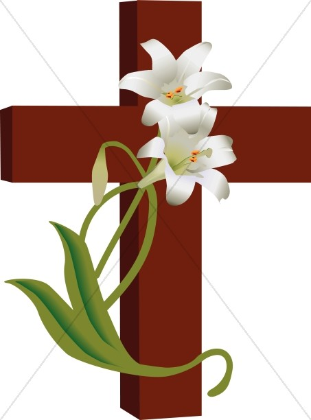 Cross with Lilies Clipart.