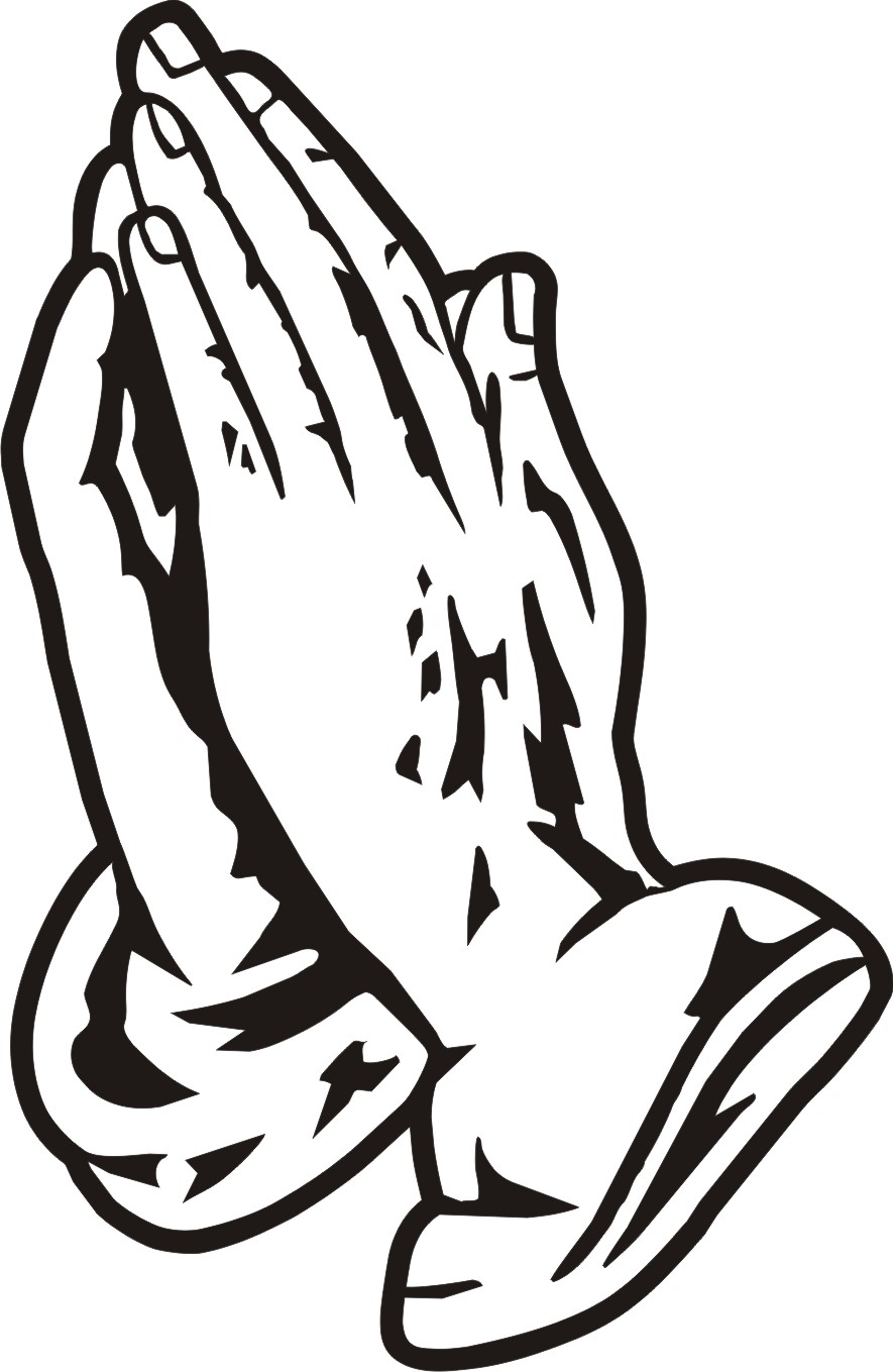 Open Praying Hands Clipart Cross And Black free image.
