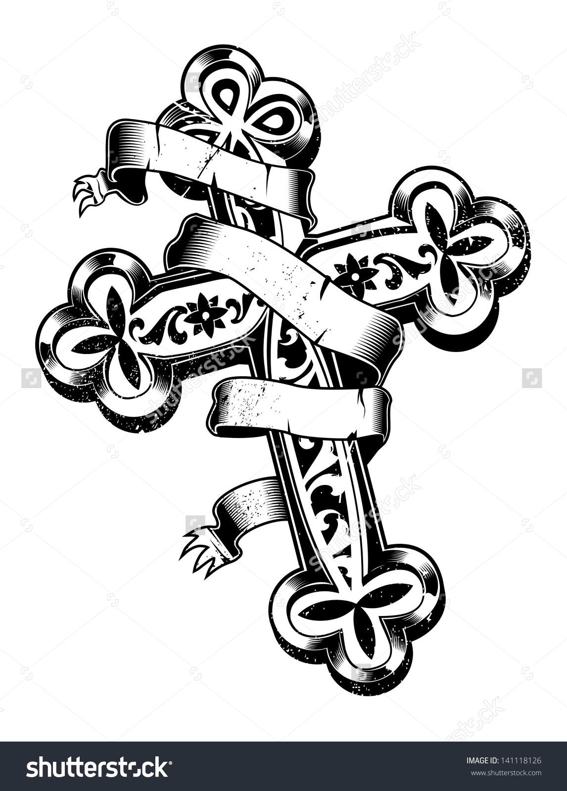 Ancient Cross Ribbon Around Stock Vector 141118126.