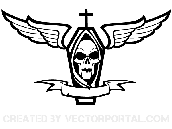 Vector Coffin with Cross, Skull, Wings and Ribbon.
