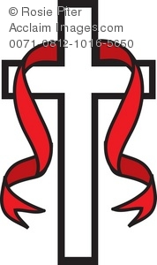 Royalty Free Clipart Illustration of a White Cross With a Red.
