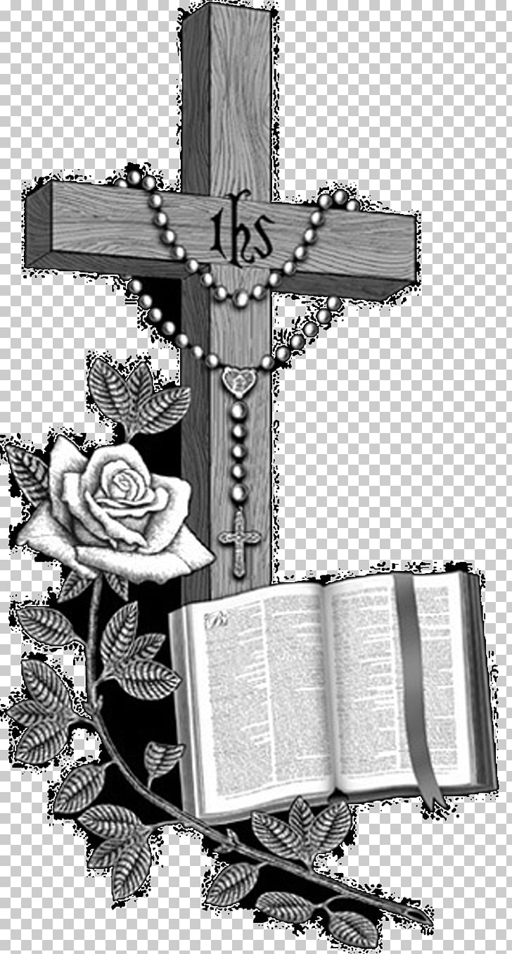 Praying Hands Bible Christian cross Headstone, headstone PNG.