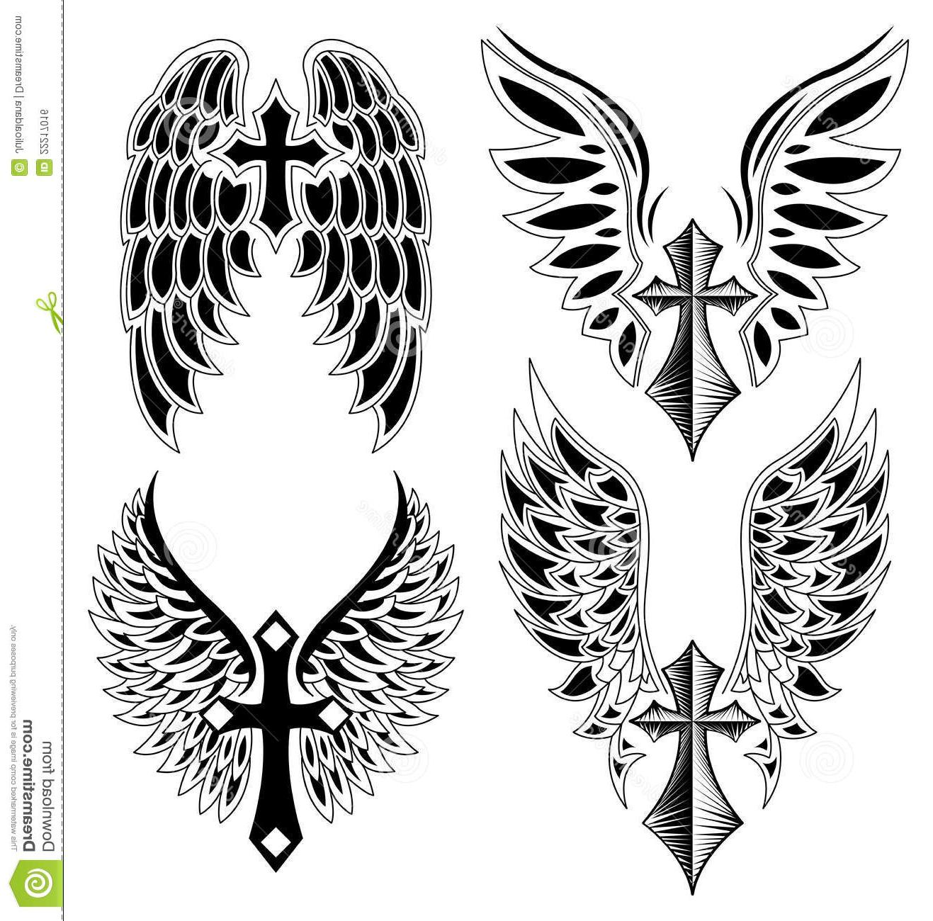 HD Cross With Wings Outline Vector Cdr » Free Vector Art, Images.