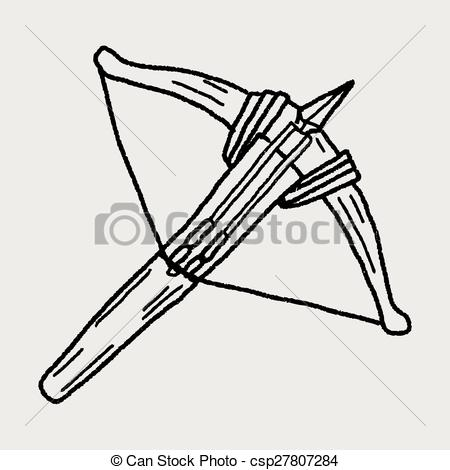 Vector Clip Art of Wooden crossbow and arrow isolated on white.