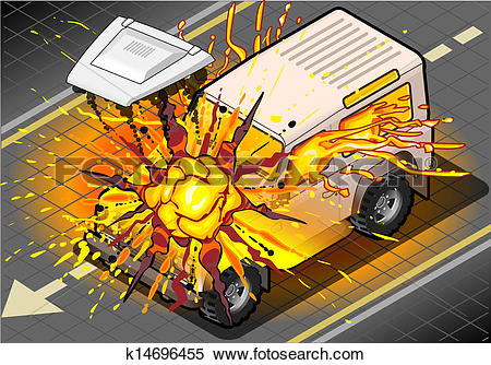 Clipart of Isometric White Cross Country Vehicle in Explosion.