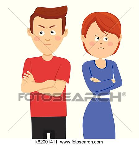 Young unhappy couple having marital problems or disagreement standing with  crossed arms Clipart.