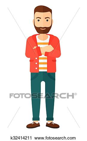 Happy man with crossed arms. Clipart.