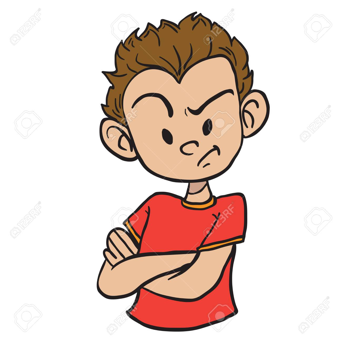 Angry boy with crossed arms cartoon illustration isolated on...
