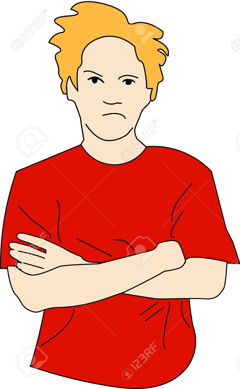 Young man with crossed arms in bad mood..