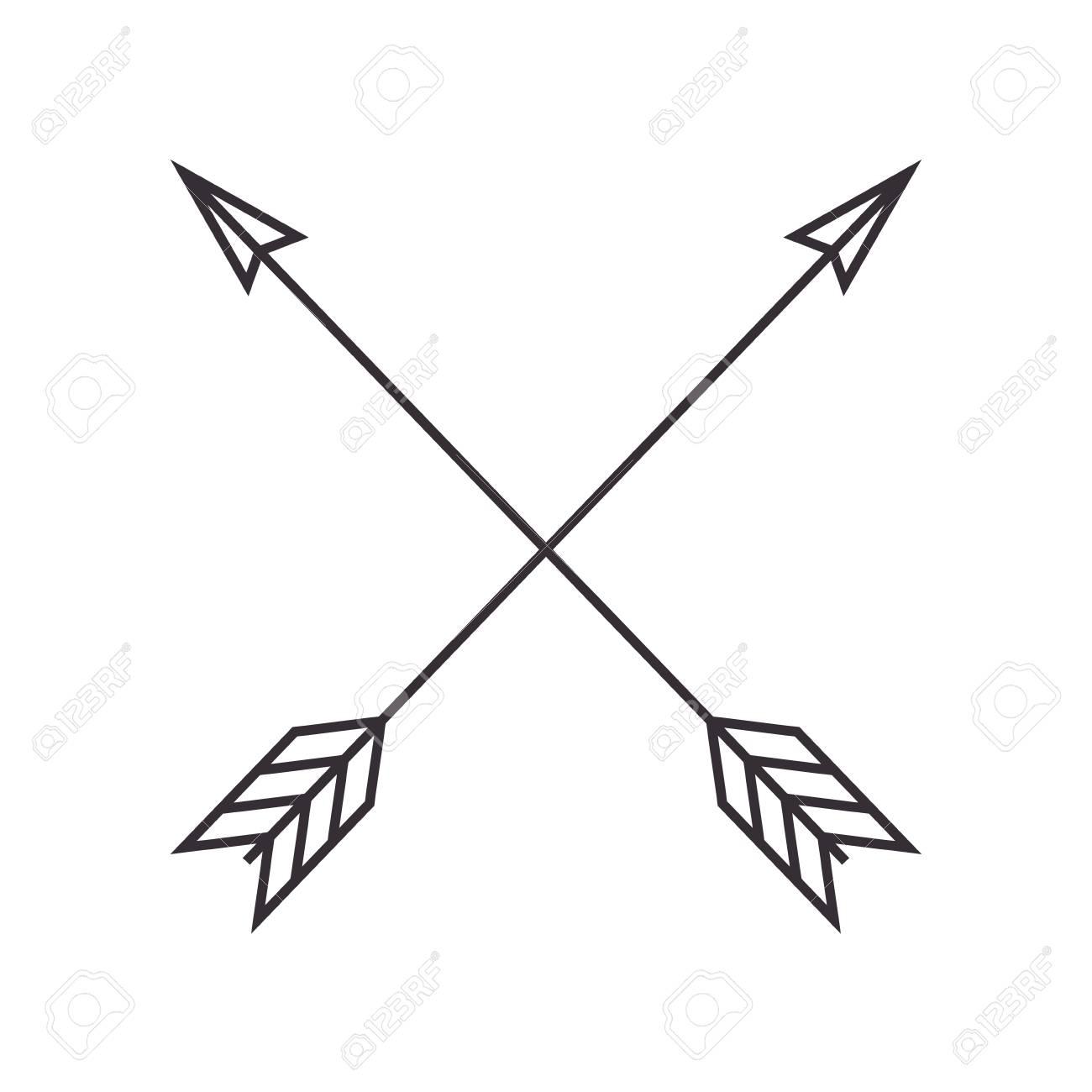 arrows crossed frame icon vector illustration design.