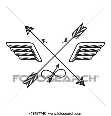Silhouette with wings and crossed arrows Clipart.