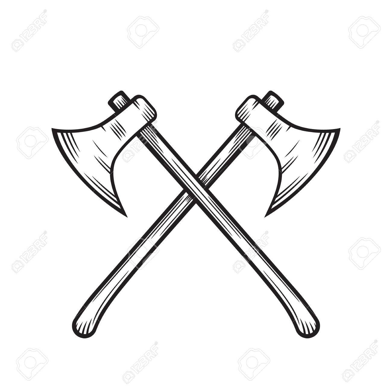 crossed axes isolated over white.
