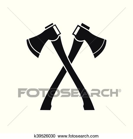 Two crossed axes icon, simple style Clipart.