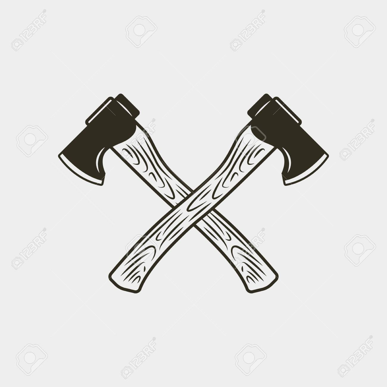 Two crossed axes isolated on white background. vector illustration.